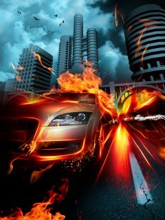 Fire Speed Car Mobile Wallpaper