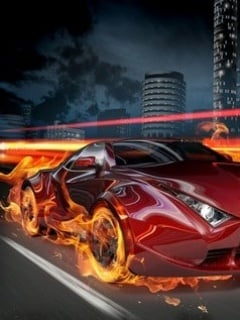 Burning Car Mobile Wallpaper