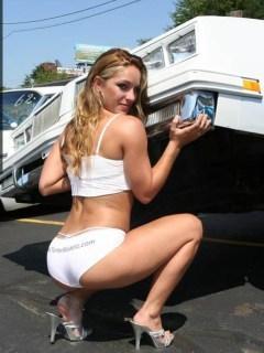 White Car Babe Mobile Wallpaper