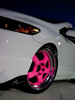 Pink Car Rims Mobile Wallpaper