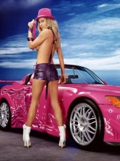Pink Car Girl Mobile Wallpaper