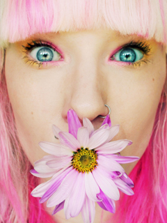 Pink Flower Girl Mobile Wallpaper