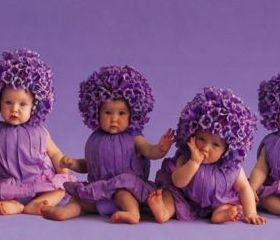 6 Babies In Purple Clothes Mobile Wallpaper