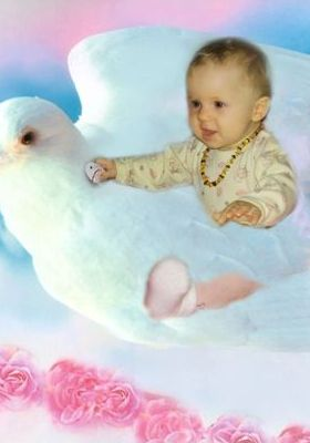 Baby Flying On A Bird Mobile Wallpaper
