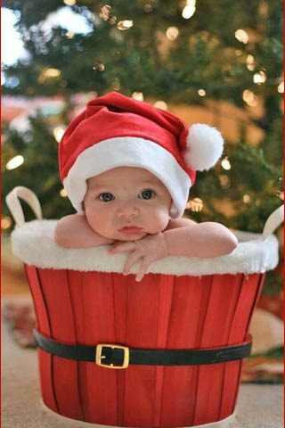 Adorable Baby In Xmas Hat Mobile Wallpaper