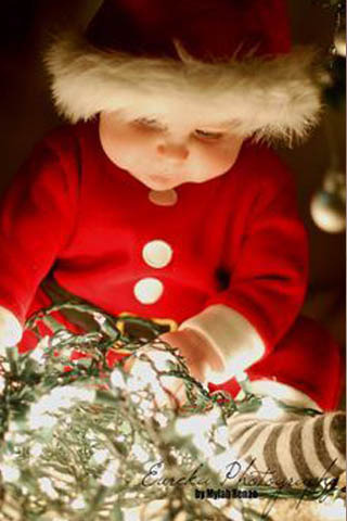 Cute Baby In Christmas Mobile Wallpaper