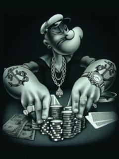 Popeye Playing Poker Mobile Wallpaper