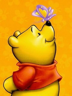 Pooh Nose On Butterfly Mobile Wallpaper
