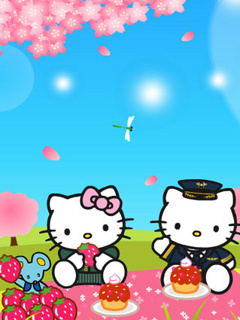 Kitty Picnic Mobile Wallpaper