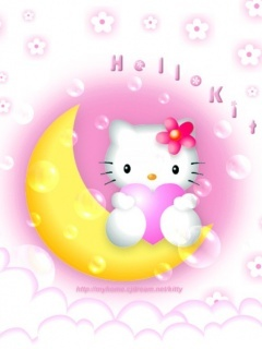 Hello Kittu Moon Mobile Wallpaper