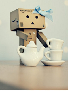 Danbo And Tea Mobile Wallpaper