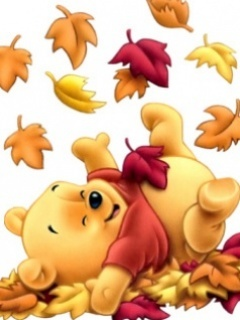 Fall Pooh Mobile Wallpaper