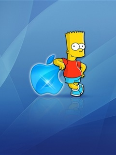 Bart With Blue Apple Mobile Wallpaper