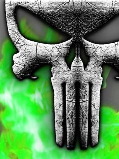 Punisher Neon Skull Mobile Wallpaper