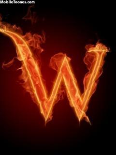 Letter *W* Fire Mobile Wallpaper