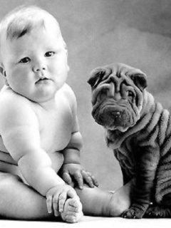 Baby And Dog Mobile Wallpaper