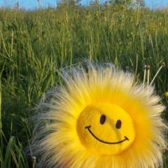 Smiley Face On Green Grasss Mobile Wallpaper