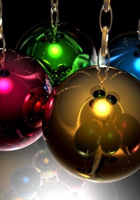 Happy New Year Christmas Balls Mobile Wallpaper