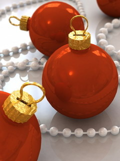 Christmas Red Balls Mobile Wallpaper