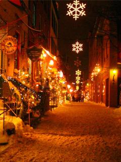 Christmas Street Lights Mobile Wallpaper