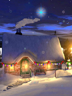Xmas Cottages Mobile Wallpaper