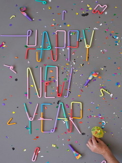 Happy New Year Colors Mobile Wallpaper