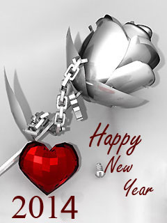 New Year 2014 With Love Mobile Wallpaper