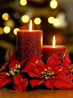 Christmas Red Candles Mobile Wallpaper