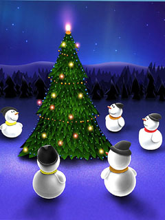 Snowman Christmas Tree Mobile Wallpaper