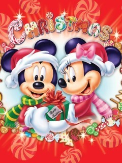 Christmas Mickey And Minnie Mobile Wallpaper