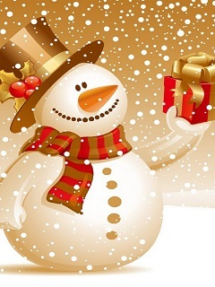 Snowman With Present Mobile Wallpaper