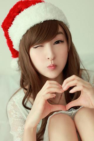 Beauty Love Christmas Girl IPhone Wallpaper Mobile Wallpaper
