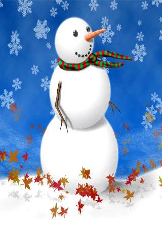 Autumn & Snowman IPhone Wallpaper Mobile Wallpaper