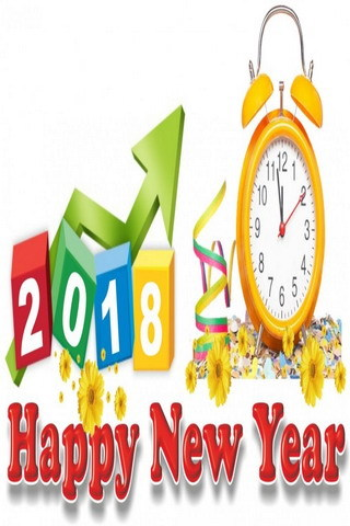2018 New Year Colorful Clock Mobile Wallpaper