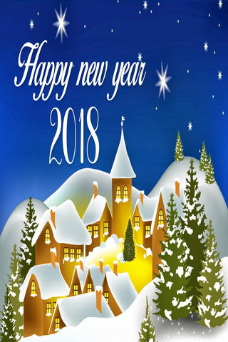 Snow Winter Houses Celebrate 2018 New Yaer Mobile Wallpaper