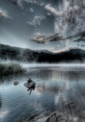 Fog Lake Mobile Wallpaper