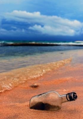 Rum Bottle Beach  Mobile Wallpaper