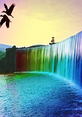 Rainbow Water Fall Mobile Wallpaper