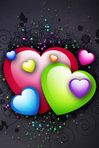 Bright Colorful Hearts IPhone Wallpaper Mobile Wallpaper