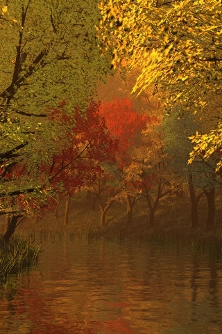 Autumn And River Mobile Wallpaper