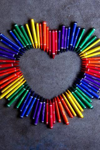 Lovely Colors Crayon Heart IPhone Wallpaper Mobile Wallpaper