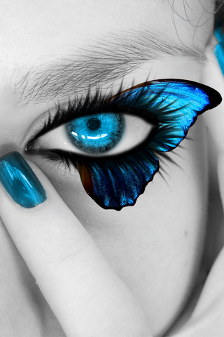 Butterfly Girl Eye IPhone Wallpaper Mobile Wallpaper