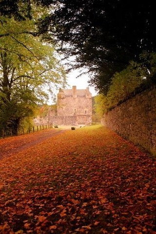 Neidpath Castle Autumn Scotland IPhone Wallpaper Mobile Wallpaper