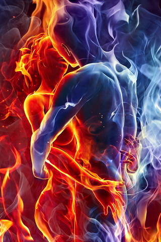 Kissing Flaming Love IPhone Wallpaper Mobile Wallpaper