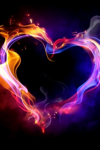 3D Fire Colors Heart IPhone Wallpaper Mobile Wallpaper