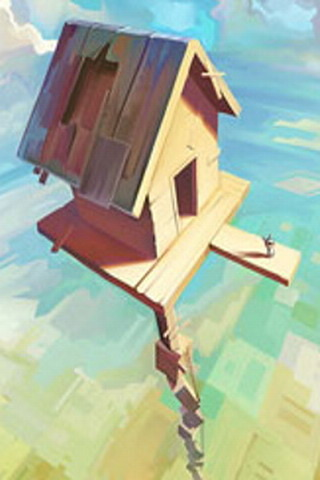 House In The Sky IPhone Wallpaper Mobile Wallpaper