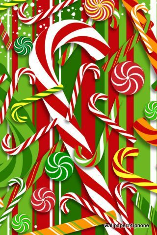 Christmas Sweet Colors Sticks IPhone Wallpaper Mobile Wallpaper