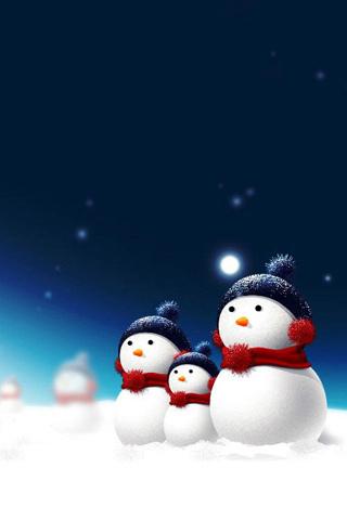 Christmas Snow Man IPhone Wallpaper Mobile Wallpaper