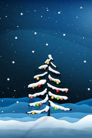 Snow Christmas Tree Balls IPhone Wallpaper Mobile Wallpaper