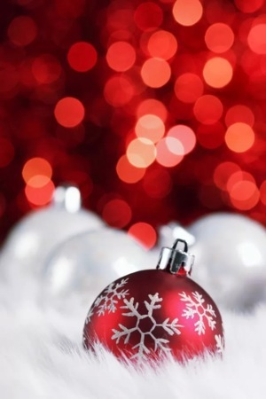 Red Bokeh Christmas Ball IPhone Wallpaper Mobile Wallpaper